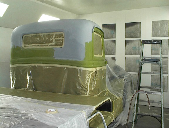 Truck in spray booth